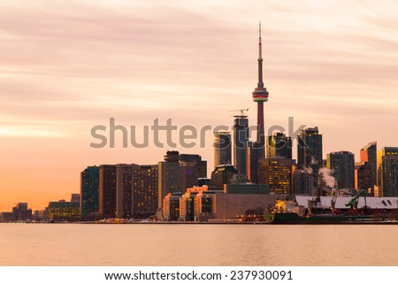 Part of the Toronto skyline from the East at sunset taken with a long exposure - stock photo