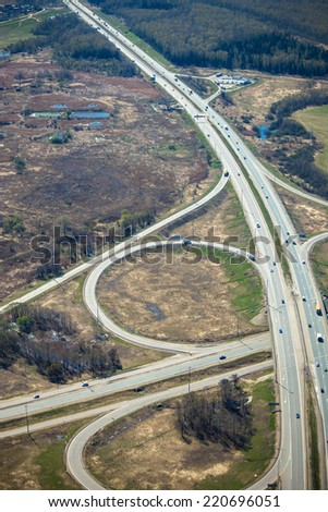 Part of the transport intersection, view from above - stock photo