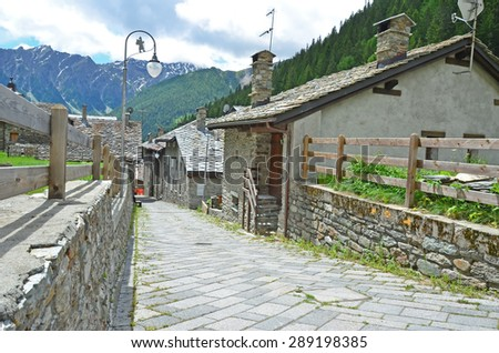 Part of the Via Francigena pilgrimage route from Canterbury to Rome. This section is just below the St Bernard Pass in Italy - stock photo