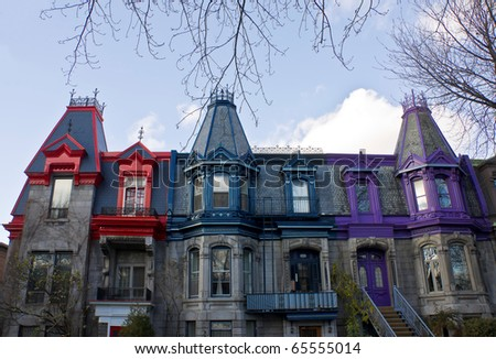Part of the Victorian homes with roof color in Montreal - stock photo