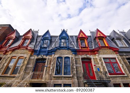 Part of the Victorian Homes with roof color in Montreal # 2 - stock photo