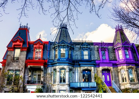 Part of the Victorian homes with roof color in Montreal, HDR image - stock photo