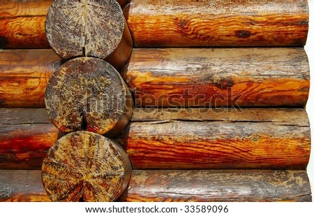 Part of the wooden house - stock photo