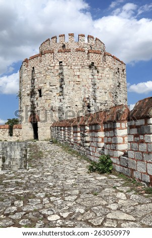 Part of tower of Yedikule Fortress in Istanbul - stock photo