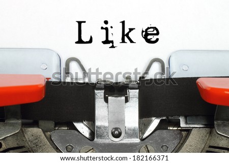 Part of typing machine with typed like word  - stock photo
