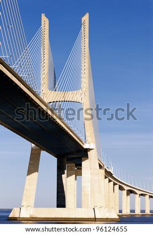 part of Vasco da Gama bridge in Lisbon, Portugal - stock photo