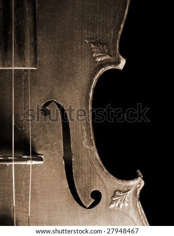 Part of vintage violin - stock photo