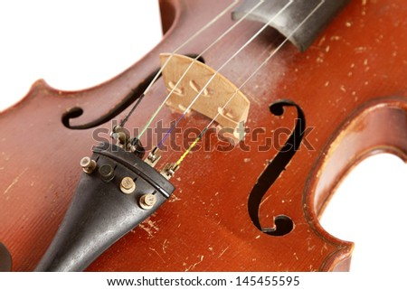Part of vintage violin  on white background (cut out) - stock photo
