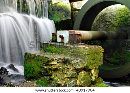 Part of water mill - stock photo