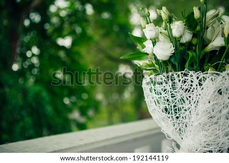 Part of wedding bouquet, closeup. Shallow depth of field. Copy space