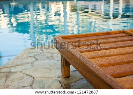 Part Wooden Chaise Longue Next Pool Stock Photo (Royalty Free ... on chaise recliner chair, chaise furniture, chaise sofa sleeper,
