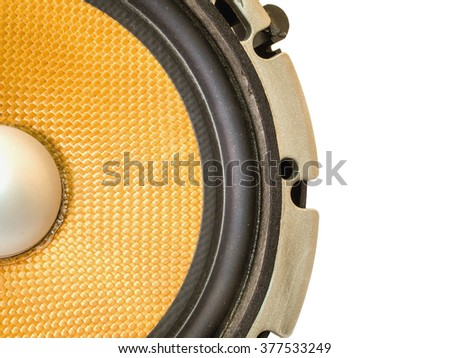 Part of yellow old car audio speaker, isolated on white background - stock photo