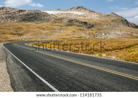 Part of yet another hairpin turn on the Beartooth Highway in Wyoming - stock photo