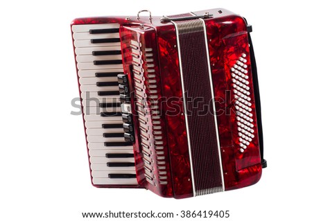 part red musical instrument accordion, white background. - stock photo