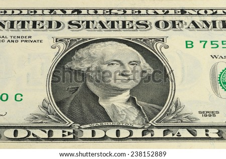 Part 1 US dollar banknote with a portrait of President Washington. Macro shooting. - stock photo