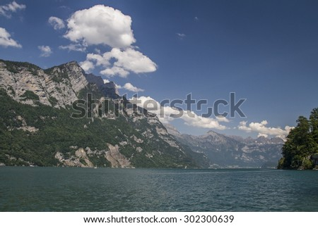 Part view of Lake Walen, a Swiss lake, which to the cantons of Glarus and St. Gallen - stock photo