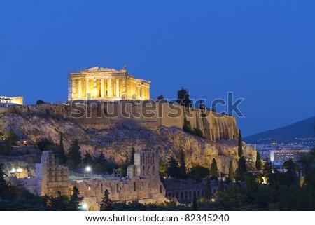 Parthenon, Acropolis by night ,Athens,Greece - stock photo