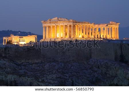 Parthenon construction during blue hour - stock photo