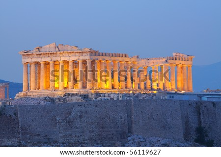 Parthenon construction in Acropolis Hill in Athens, Greece shot in blue hour - stock photo