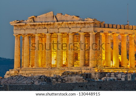 Parthenon construction in Acropolis Hill in Athens, Greece shot in blue hour closeup of the front part - stock photo