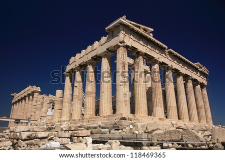Parthenon in Greece and dark blue sky - stock photo