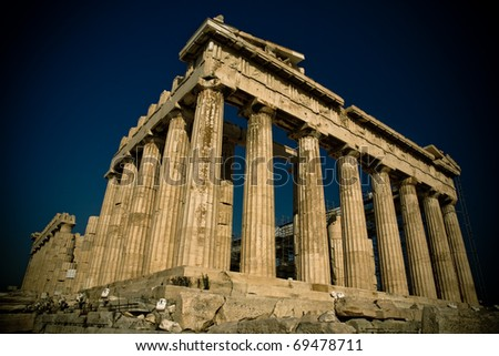 Parthenon on acropolis in Athens, Greece - stock photo