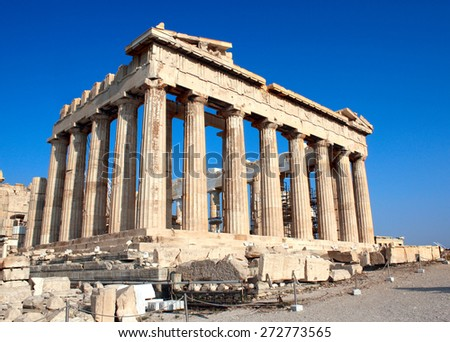 Parthenon on the Acropolis in Athens, Greece - stock photo