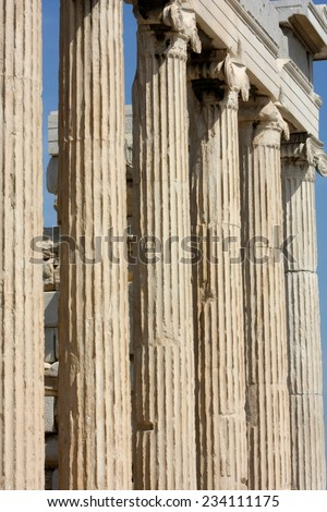 Parthenon on the Acropolis, in Athens, Greece  Detail - stock photo