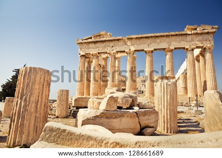 Parthenon on the Acropolis in Greece on a beautiful summer day - stock photo