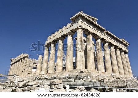 Parthenon temple at the Acropolis of Athens in Greece (temple of Goddess Athena) - stock photo
