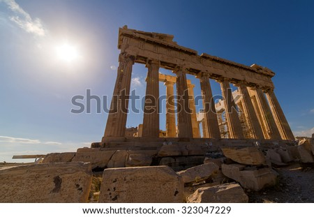 Parthenon temple in Acropolis in Athens