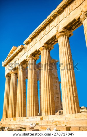Parthenon temple in Acropolis in Athens, Greece - stock photo
