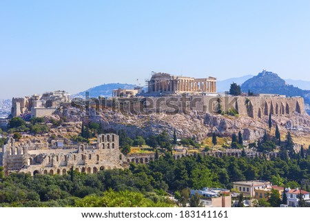 Parthenon temple in the Acropolis of Athens, Greece - stock photo
