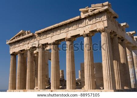 Parthenon temple on Acropolis, Athens, Greece. - stock photo
