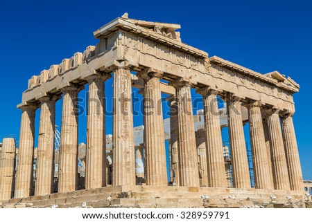 Parthenon temple on the Acropolis in a summer day in Athens, Greece - stock photo
