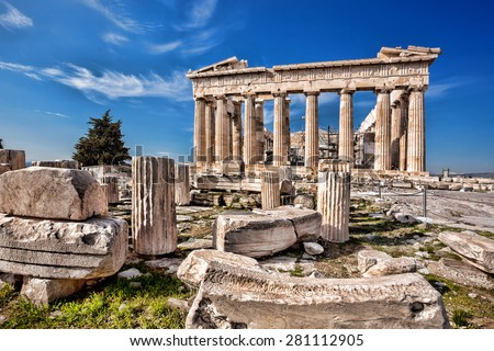 Parthenon temple on the Acropolis in Athens, Greece - stock photo