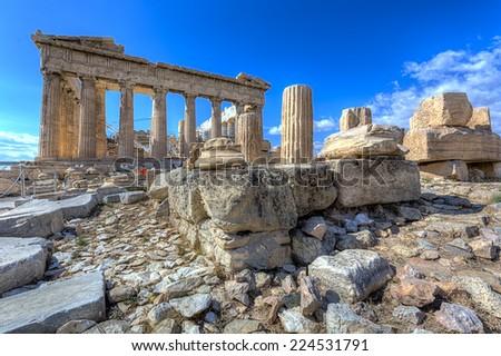 Parthenon temple on the Acropolis of Athens,Greece  - stock photo