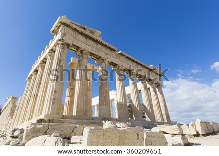 Parthenon temple on the athenia Acropolis,Greece - stock photo