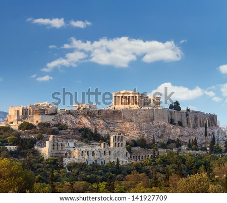 Parthenon, temple on the Athenian Acropolis, dedicated to the maiden goddess Athena - stock photo