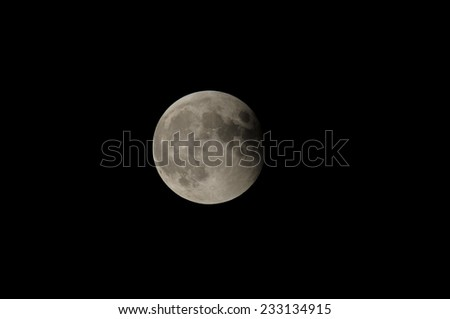 Partial Eclipse of the Moon in Black Night - stock photo