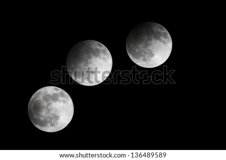 Partial Lunar eclipse observed at 21:53:42 to 23:00:33, Bahrain 25 April 2013 - stock photo