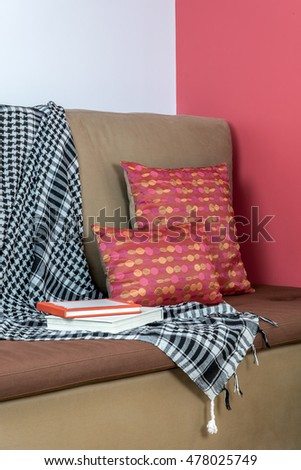 Partial of sofa in modern Living room / interior design & redecoration conceptual