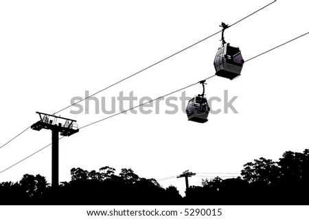 Partial silhouette of a cable lift. I left the detail and color intact in the pods themselves. - stock photo