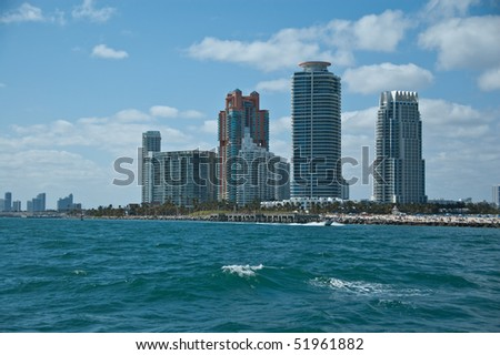 partial skyline in fort lauderdale florida as seen from the intracoastal waterway - stock photo