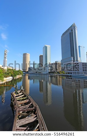 Partial Tampa, Florida skyline with Riverwalk Park and commercial buildings vertical