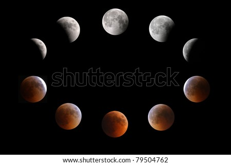 Partial, total and mid lunar eclipse phases observed on 15-16 June 2011 at Bahrain - stock photo