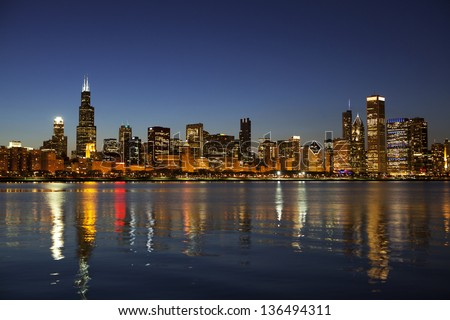Partial view Chicago Skyline at dusk - stock photo