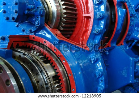 Partial view from model of ship engine. - stock photo