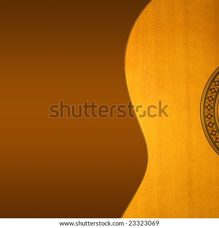 Partial view of acoustic guitar on gradient background, clipping path