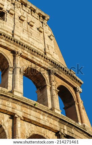 Partial view of Coliseum ruins. Italy, Rome. - stock photo